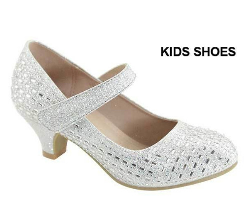 Туфли на каблуке для девочек Shoe Clickцвет серебряный, размер 27,  4443394 d3e26ba1007