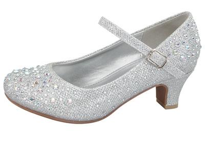 Праздничные туфли для девочек на каблуке Shoe Clickцвет серебряный, размер  25,  4443400 5c34c2f33b0