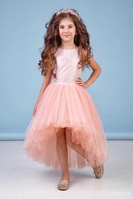 59b5c052954e6c3 Платье нарядное со шлейфом персикового цвета
