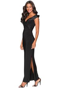 b30fc3361fc Черное приталенное платье с запахом и отделкой пайетками