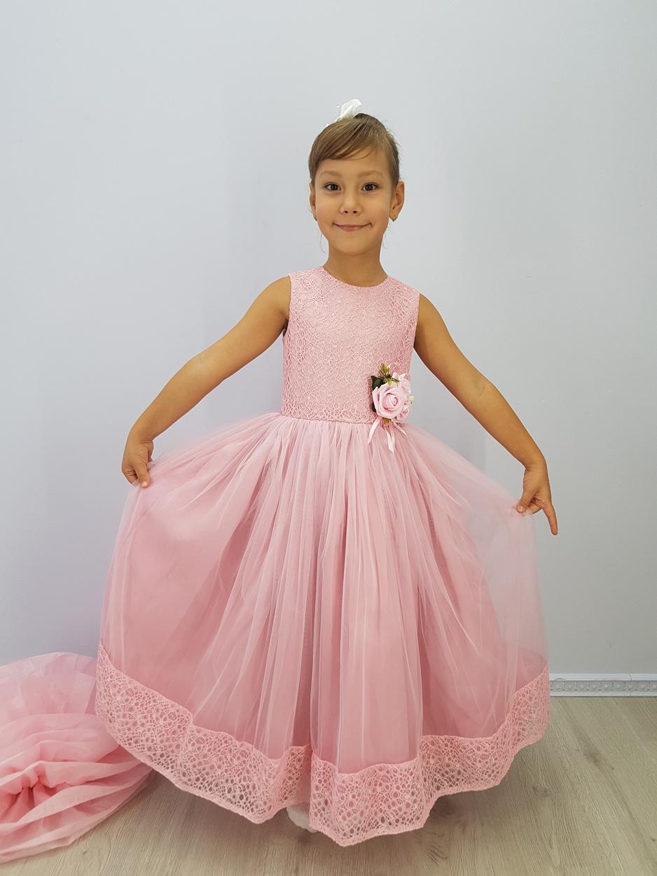 e3d811fddd65ea6 Детское нарядное платье - Каролина Розовый Minavlaразмер 116-134, #4638562