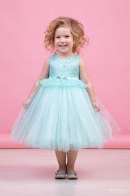 96fabc86bf4b352 -28% Платье нарядное мятно-голубого цвета с многослойной юбкой и кружевом