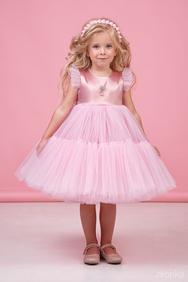 0189d78f71d Платье нарядное нежно-розового цвета для девочек с многослойной юбкой